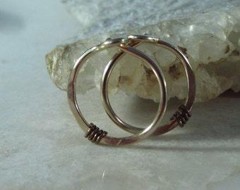 Hoop Earrings Gold Hammered & Wrapped Gunmetal - Hammered Hoop Earring, Piercing Earring, Gunmetal Earring, Cartilage Earring, Tragus