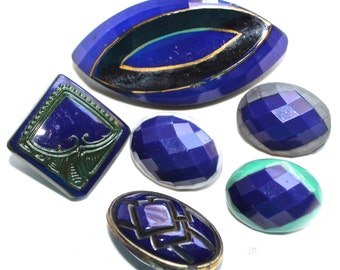 Buttons - 6 Old Cobalt Glass 1 Medium 5 Smalls