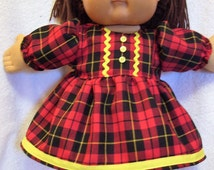 Cabbage Patch doll clothes,Plaid dress set,fits 16inch to 18inch baby dolls