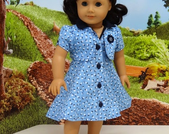 Blue Monday - Gored Sleeveless Dress and Jacket for American Girl doll