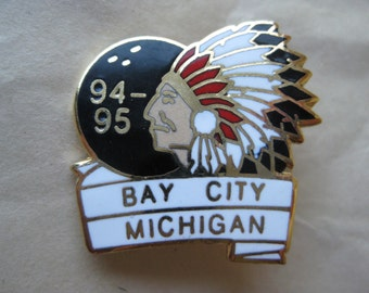 Bowling Indian Chief Ball Face Pin Brooch Vintage Gold Enamel Black Red White Bay City, Michigan 1994 1995 Native American