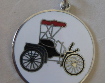 Antique Car Enamel Charm White Black Red Silver Vintage Automobile Auto