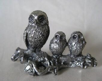 Owl Family Figurine Vintage Silver Metal Miniature Baby Bird
