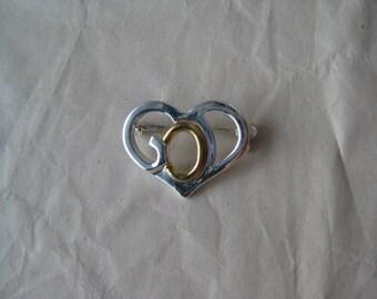 God Heart Silver Gold Brooch Vintage Pin