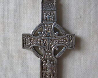 Celtic Cross Sterling Necklace Pendant Vintage 925 Silver People Levels Christian