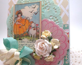 victorian easter card-LITTLE GIRL and LAMB-easter greeting