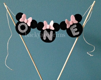 Cake Topper -Minnie Mouse theme mini flag Bunting -Cake Bunting -Mini Birthday Banner  Bunting ~INCLUDES DOWELS~