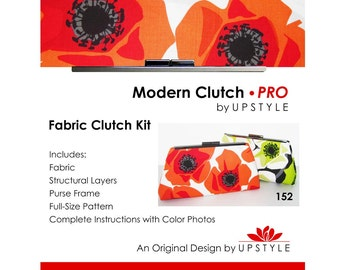 CLEARANCE Modern Clutch - PRO Fabric Clutch Kit by UPSTYLE - Pattern Tutorial Purse Making Learn to Sew
