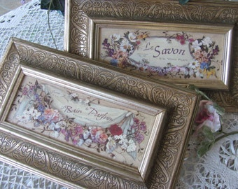 Pair Set 2 Larger  French Pictures, French Bath Decor