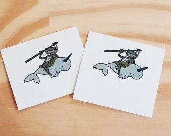Temporary Tattoos, Robot Riding Narwhal - Pack of 2