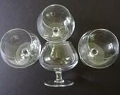 4 Vintage Plain Balloon Brandy Snifters