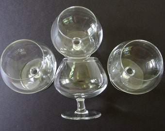 4 Vintage Plain Balloon Brandy Snifters