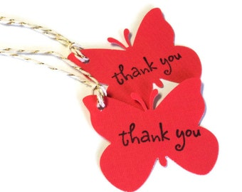 27 Tags, Gift Tags, Thank You, Merchandise, Coral Red, Butterflies, Party Favor Tags, Hang Tags