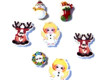 7 Christmas Magnets, Angels Reindeer Snowman Stocking Wreath, Handmade from Buttons Cabs CM7