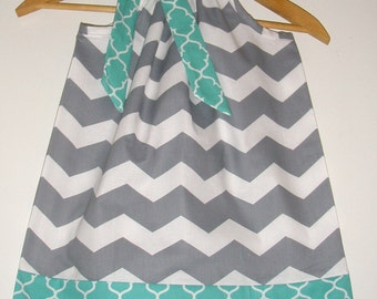 Gray Chevron dress all TEAL Trim Pillowcase dress available in size 3, 6, 9, 12, 18 months ,2t,3t,4t,5t,6,7,8,10,12