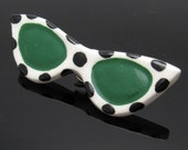Ceramic Sunglasses Brooch Flying Colors Polka Dot Jewelry P7409