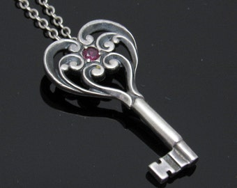Vintage Sterling Heart Key Ruby Pendant Franklin Mint N7419