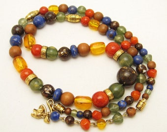 Liz Claiborne Bead Necklace Fall Colors Costume Jewelry N6828