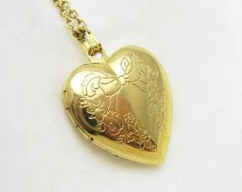 Vintage Heart Locket Necklace Bow Flower Pendant Jewelry N7030