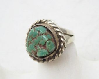 Vintage Sterling Turquoise Ring Southwestern Boho Jewelry R7053