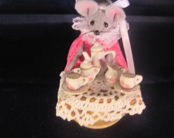 Felt Mouse with a Tea Service. NEW LOWER PRICE