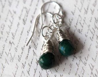 50% Off Emerald Drop Earrings, Emerald Green, Emerald Birtstone, Emerald Tear Drop Dangles, Sterling Silver, May Birthstone