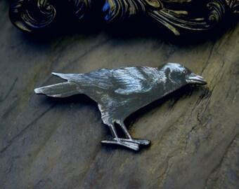 Raven Brooch, Black Crow, Nevermore, Poe, Halloween Pin, Vintage Illustations