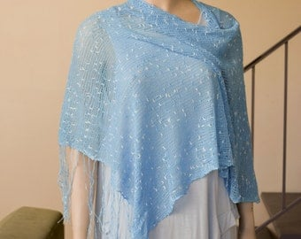 Sky Blue Handknit Rayon Poncho with Fringes Spring Summer Vacation Weekend