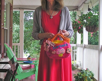 Delicious Cupcake - A Hand-knit, Felted Bag in Bright Orange and Hot Pink, with a Cupcake Theme