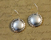 """Sterling silver, 3/4"""" disk, earrings, smooth, dots, rustic, oxidized, small, simple, textured, round, brushed, everyday, bytwilight"""