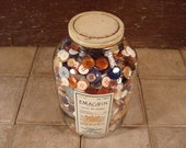 Large vintage jar filled to the brim with sewing buttons- solid, beautiful, home decor, vintage jar