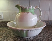 Old Johnson Brothers (England) wash bowl and pitcher- white and green with gold trim, beautiful shape, minimal wear, large and beautiful