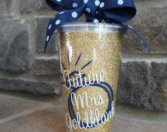 Future Mrs Personalized 16oz GLITTER Straw Tumbler Cup
