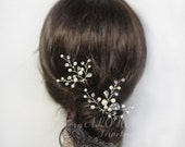 Rhinestone Leaf Vines Wedding Hair Pins Set, Bridal Hair Accessory, Ivory Cream White Pearls Wedding Headpiece, hair clip