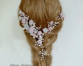 Pink Bridal Headpiece Blush Pink Wedding Hair Accessories  Bridal Hair Vines Wedding Hair Comb Pink Hair Flowers Crystal Hair Pieces
