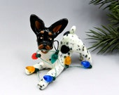 Toy Fox Terrier Rat Terrier Christmas Ornament Figurine Lights Porcelain