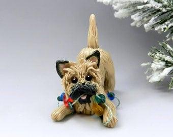 Cairn Terrier Wheaten Christmas Ornament Figurine Lights Porcelain