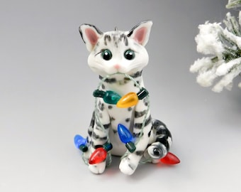 Bengal Cat Silver Snow Christmas Ornament Figurine Handmade Porcelain