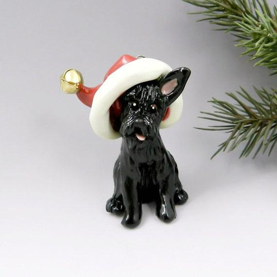 Scottish Terrier Christmas Ornament Figurine Santa Hat Porcelain
