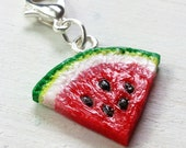 Handmade Watermelon Charm - Available on Necklace, Clasp or Lapel Pin - Fimo Pendant - Polymer Clay Fruit Jewellery