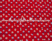 Daisies and Butterflies on Red- Vintage Fabric Mod Flowers Juvenile Floral Novelty Calico