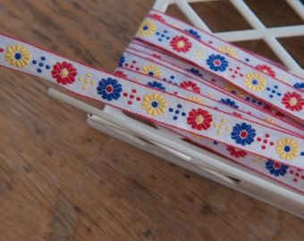 3 yards Adorable Floral - Vintage Fabric Trim Embroidered New Old Stock Red Yellow Blue