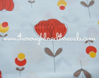 Atomic Floral- Vintage Fabric New Old Stock Great Graphics Orange Yellow 36 in wide
