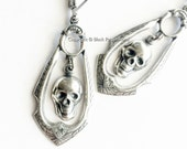 Lola Earrings - Victorian Ornate Gothic Skull Stampings - Free Domestic Shipping