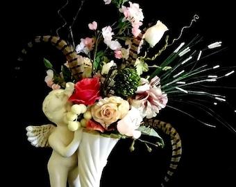 Cottage Chic Couture Silk Flower Arrangement, Cherub Angel Cornucopia, Roses, Hydrangeas, Pheasant Feathers