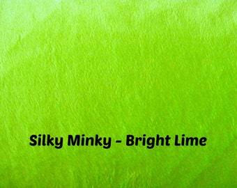 STORE CLOSING - Bright Lime Neon Green Minky Fabric - Silky Minky - Smooth Minky - Minky fabric by the yard