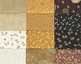 Japanese cotton prints - 18 cream to brown fat eighths