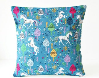 REDUCED 16 inch Unicorn cushion cover , blue green white pink girls decorative pillow cover 40 cm