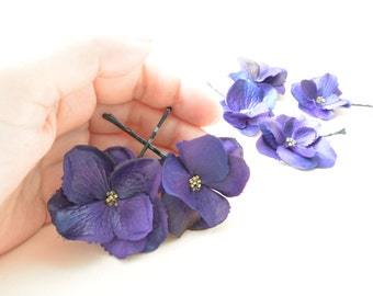 Purple Flower Hair Pins, Wedding Hair Accessories, Small Hair Flower, Set of two flowers