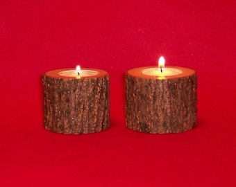 Rustic Tea Light Candle Holders Handcrafted from Ash Hardwood